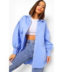oversized katoenen blouse met ballonmouwen, blue