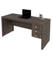 mesa reversível com 3 gavetas para escritório me4113 carvalho tecno mobili