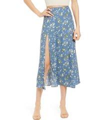 women's reformation zoe side slit midi skirt, size 10 - blue