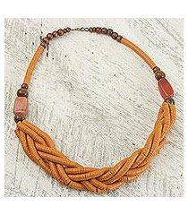braided bead necklace, 'sosongo in orange' (ghana)