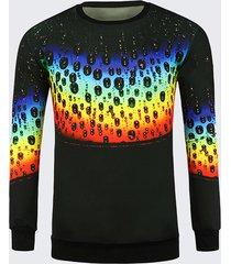mens unique 3d colorful rainbow stampa maniche lunghe t-shirt casual