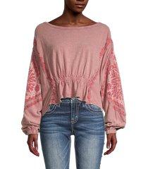 free people women's throwback print top - rose blush - size m