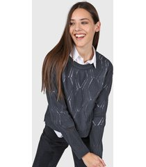 sweater azul moni tricot calado
