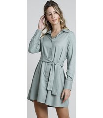 vestido feminino chemise manga longa com faixa verde