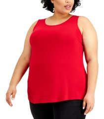 style & co plus size solid swing tank top, created for macy's