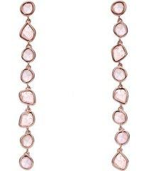 rose gold siren mini nugget cocktail earrings rose quartz