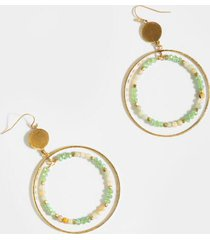 harley beaded circle drop earrings - mint