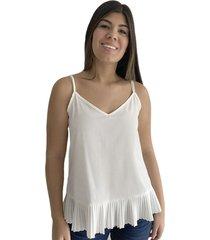 camisa blanca de tiras para mujer x49579