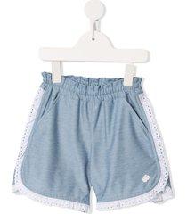 familiar lace trim shorts - blue