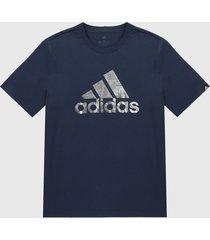 camiseta azul-plateado adidas performance logo metalizado