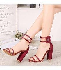 sandalias transparentes de la moda peep toe de las mujeres chunky apiladas