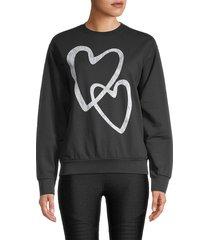 prince peter collection women's heart-graphic cotton sweatshirt - black - size s