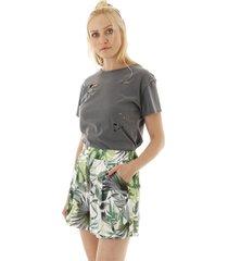 short cintura alta estampa folhagens e pregas - branco/verde - feminino - dafiti