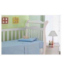 jogo de cama baby plumasul classic sianinha algodão 3 peças azul