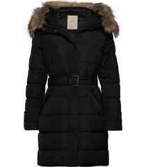 coats woven gevoerde lange jas zwart esprit casual