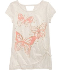 epic threads big girls side tie butterfly-print t-shirt, created for macy's