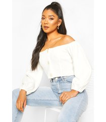 knitted bardot button detail crop top, cream