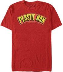 fifth sun dc men's plastic man text logo short sleeve t-shirt