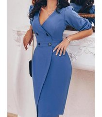 yoins abrigo azul con botones diseño medias mangas vestido