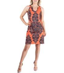 women's abstract print knee length summer shift dress
