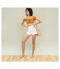 lez a lez - shorts cintura alta bordado branco
