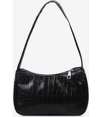 french style solid textured shoulder bag