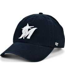 '47 brand miami marlins black white clean up cap