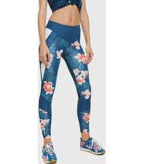 leggings desigual bloques hindi turquesa - calce ajustado