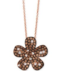 "le vian red carpet diamond flower 18"" pendant necklace (1-3/8 ct. t.w.) in 14k rose gold"
