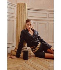 womens get in touch cropped velvet blazer - black