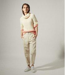 reiss hettie - chunky knit roll neck jumper in cream/pink, womens, size xl