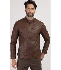 jaqueta masculina com recortes e bolso marrom