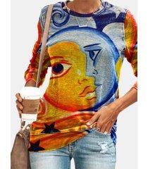 camicetta vintage da donna con scollo a manica lunga stampa sun moon