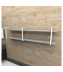 prateleira industrial banheiro aço branco 180x30x40cm (c)x(l)x(a) mdf cinza modelo ind39cb