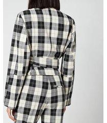 baum und pferdgarten women's blayn jacket - cream black check - eu 36/uk 8