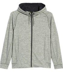 zella pyrite zip hoodie, size large in green ivy melange at nordstrom