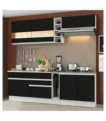 cozinha completa madesa parma com armário e balcão (sem tampo e pia) branco/preto branco/preto