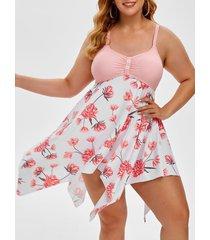 plus size handkerchief floral print empire waist tankini swimwear