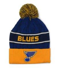 authentic nhl headwear st. louis blues 2020 locker room pom knit hat
