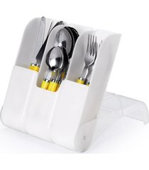porta talher plástico com 3 compartimentos cozinha branco - tricae