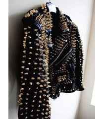 womens golden studded brando style black premium leather jacket new design,sizes