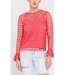 endless rose long sleeve eyelet lace top with underlay cami