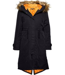 carmen parka faux fur hd coat parka rock jacka blå french connection