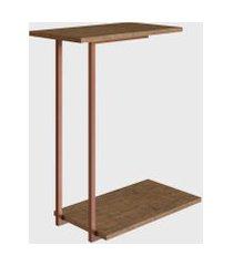 mesa lateral steel quadra vermont/cobre industrial artesano