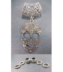 us seller-sugar skull pendant slider scarf ring charms necklace