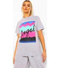 kleurrijk 'angel' t-shirt met tekst, grey