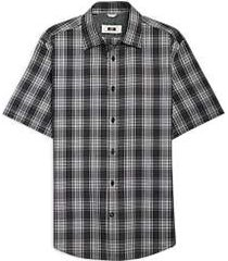 joseph abboud black & gray plaid short sleeve sport shirt
