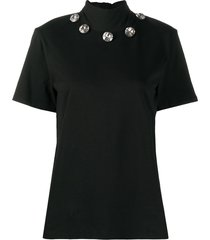christopher kane crystal tie neck t-shirt - black