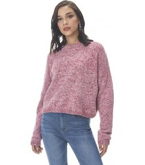 sweater chenille crop rosado corona