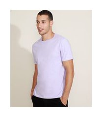 camiseta masculina básica manga curta gola careca lilás